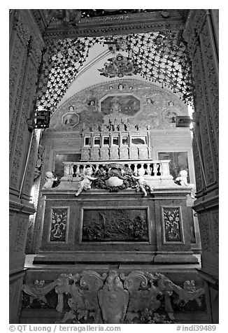 Three-tiered marble tomb of St Francis, Basilica of Bom Jesus, Old Goa. Goa, India (black and white)