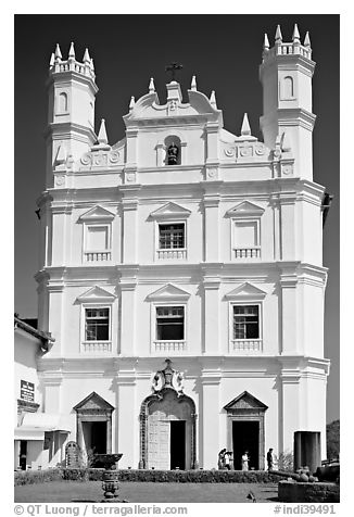 Portuguese church of St Francis of Assisi, Old Goa. Goa, India (black and white)