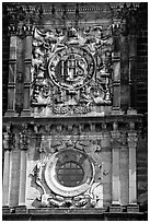 Facade decor, Basilica of Bom Jesus, Old Goa. Goa, India ( black and white)