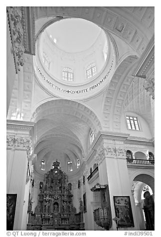 Inside dome of Church of St Cajetan, Old Goa. Goa, India (black and white)