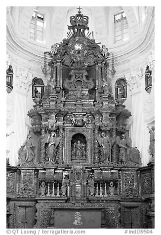 Altar, Church of St Cajetan, Old Goa. Goa, India (black and white)