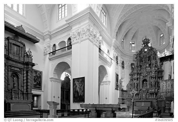 Church of St Cajetan interior, Old Goa. Goa, India (black and white)