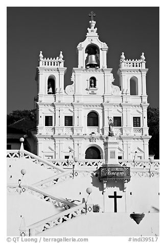 Church of our Lady of the Immaculate Conception facade, Panaji. Goa, India (black and white)