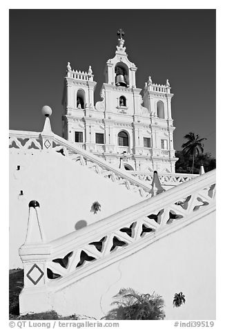 Church of our Lady of the Immaculate Conception, Panaji (Panjim). Goa, India (black and white)