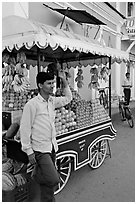 Fruit vendor, Panjim (Panaji). Goa, India ( black and white)