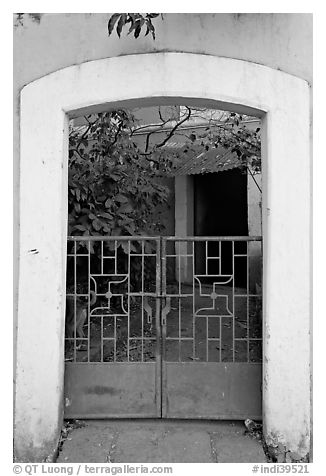 Gate, yard, and house, Panjim. Goa, India