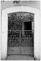 Gate, yard, and house, Panjim. Goa, India (black and white)