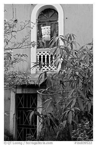 Yard and blue facade, Panaji. Goa, India (black and white)