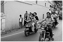 Street with motorbikes, Panjim. Goa, India (black and white)