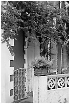House facade with flowers, Panaji. Goa, India (black and white)