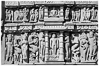 Sculptures, Parsvanatha temple, Eastern Group. Khajuraho, Madhya Pradesh, India (black and white)