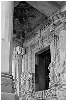 Entrance porch (ardhamandapa), Parsvanatha temple, Eastern Group. Khajuraho, Madhya Pradesh, India (black and white)