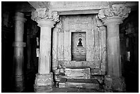 Main hall (mahamandapa), and inner sanctum, Parsvanatha, Eastern Group. Khajuraho, Madhya Pradesh, India (black and white)
