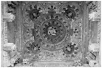 Ceiling decor of temple entrance, Parsvanatha, Eastern Group. Khajuraho, Madhya Pradesh, India ( black and white)