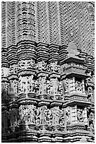 Temple carving detail, Adinath, Eastern Group. Khajuraho, Madhya Pradesh, India (black and white)
