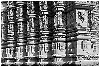 Decorated columns, Duladeo Temple, Southern Group. Khajuraho, Madhya Pradesh, India (black and white)
