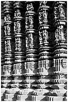 Carved columns, Duladeo Temple, Southern Group. Khajuraho, Madhya Pradesh, India (black and white)