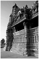 Mandapa side, Javari Temple, late afternoon, Eastern Group. Khajuraho, Madhya Pradesh, India (black and white)