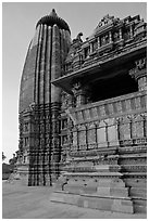 Vamana temple, Eastern Group. Khajuraho, Madhya Pradesh, India ( black and white)