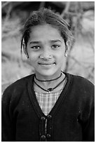 Young villager. Khajuraho, Madhya Pradesh, India (black and white)
