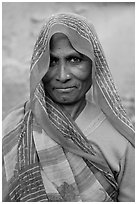 Elderly woman with head scarf. Khajuraho, Madhya Pradesh, India ( black and white)
