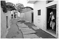 Alley in village. Khajuraho, Madhya Pradesh, India ( black and white)