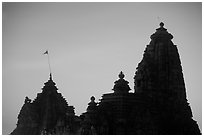 Temple silhouette, Western Group, sunset. Khajuraho, Madhya Pradesh, India ( black and white)