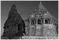 Temples at dusk, Western Group. Khajuraho, Madhya Pradesh, India ( black and white)