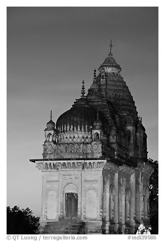 Temple at dusk, Western Group. Khajuraho, Madhya Pradesh, India (black and white)