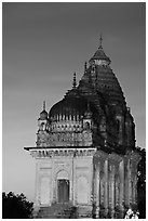Temple at dusk, Western Group. Khajuraho, Madhya Pradesh, India ( black and white)