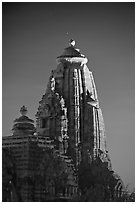 Illuminated temple at night, Western Group. Khajuraho, Madhya Pradesh, India (black and white)