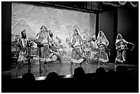 Folksdance performed on Kandariya art and culture show stage. Khajuraho, Madhya Pradesh, India (black and white)