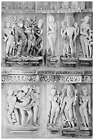 Apsaras and Mithunas, Lakshmana temple. Khajuraho, Madhya Pradesh, India (black and white)