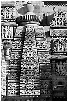 Temple decor detail, Lakshmana temple. Khajuraho, Madhya Pradesh, India (black and white)