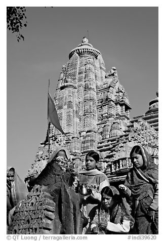 Morning Puja in front of Lakshmana temple. Khajuraho, Madhya Pradesh, India