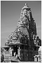 Entrance side of Lakshmana temple. Khajuraho, Madhya Pradesh, India ( black and white)