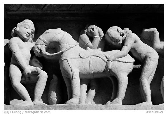 Sculptures with shocking sexual activity, Lakshmana temple. Khajuraho, Madhya Pradesh, India (black and white)