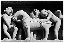 Sculptures with shocking sexual activity, Lakshmana temple. Khajuraho, Madhya Pradesh, India ( black and white)