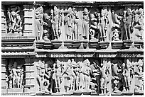 Sculpture detail,  Kadariya-Mahadeva temple. Khajuraho, Madhya Pradesh, India (black and white)