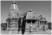 Devi Jagadamba temple seen from the front. Khajuraho, Madhya Pradesh, India ( black and white)