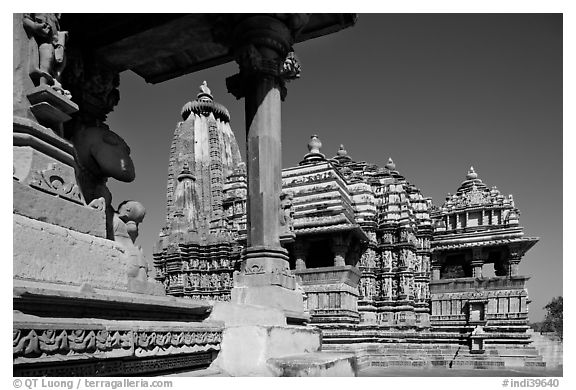 Devi Jagadamba temple seen through Mahadeva. Khajuraho, Madhya Pradesh, India (black and white)