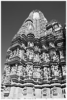 Back of  Devi Jagadamba temple. Khajuraho, Madhya Pradesh, India ( black and white)