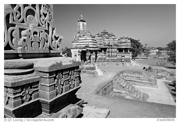 Mahadeva and Devi Jagadamba temples seen from Kadariya-Mahadev. Khajuraho, Madhya Pradesh, India (black and white)