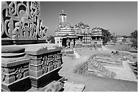 Mahadeva and Devi Jagadamba temples seen from Kadariya-Mahadev. Khajuraho, Madhya Pradesh, India ( black and white)