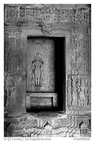 Inner sanctum (garbhagriha) of Lakshmana temple. Khajuraho, Madhya Pradesh, India (black and white)