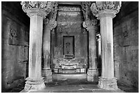 Columns and inner sanctum (garbhagriha) of Lakshmana temple. Khajuraho, Madhya Pradesh, India ( black and white)