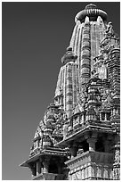 Sikhara of Visvanatha temple. Khajuraho, Madhya Pradesh, India (black and white)