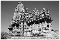 Kadariya-Mahadeva temple seen from the side. Khajuraho, Madhya Pradesh, India ( black and white)
