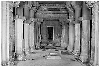 Mandapa inside Kadariya-Mahadeva temple. Khajuraho, Madhya Pradesh, India ( black and white)