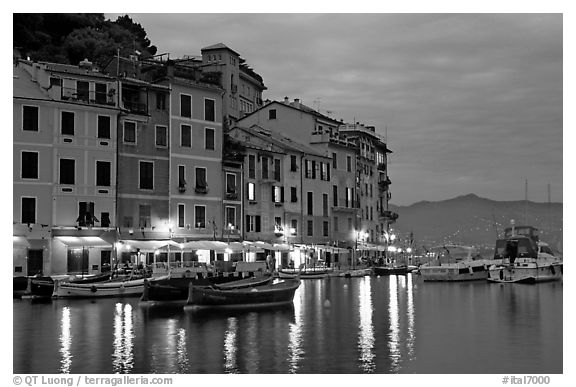 Houses reflected in harbor at dusk, Portofino. Liguria, Italy (black and white)
